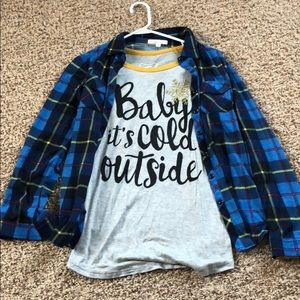 Cute flannel with long sleeve tee!
